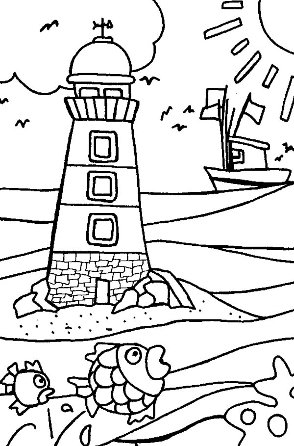 600x909 Kidergarten Kids Drawing Lighthouse Coloring Pages