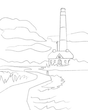 300x376 Lighthouse Art Sketch Adult Coloring Page