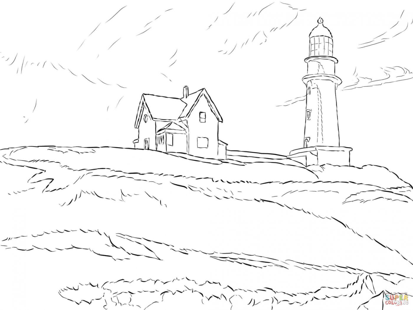 1400x1050 Printable Lighthouse Beach Coloring Sheets Pages Free Kids At
