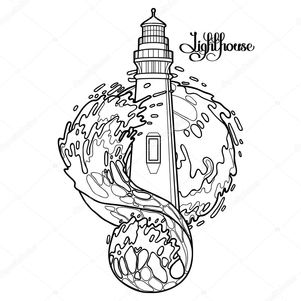 1024x1024 Graphic lighthouse during a storm — Stock Vector © homunkulus28