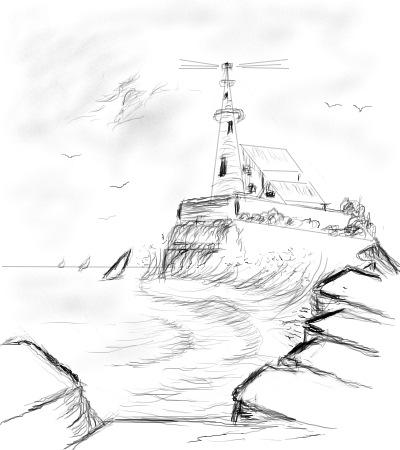 400x450 Drawn Lighthouse Cliff