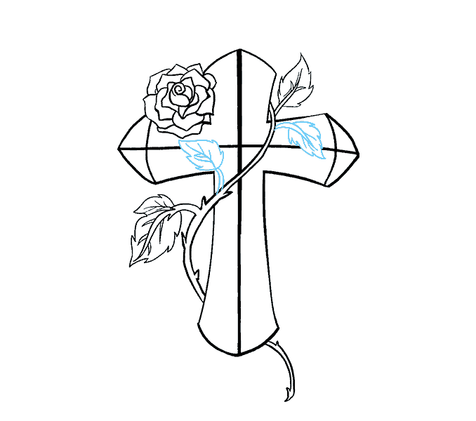 678x600 How To Draw A Cross With A Rose In A Few Easy Steps Easy Drawing