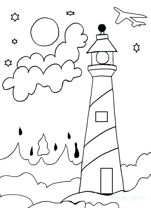 600x825 Lighthouse Coloring Pages Also Marvellous Lighthouse Coloring
