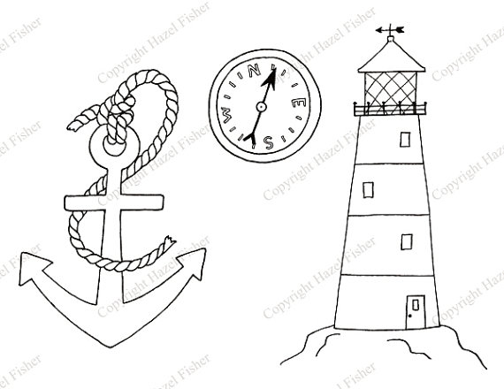 570x440 Nautical Digital Stamps Clip Art