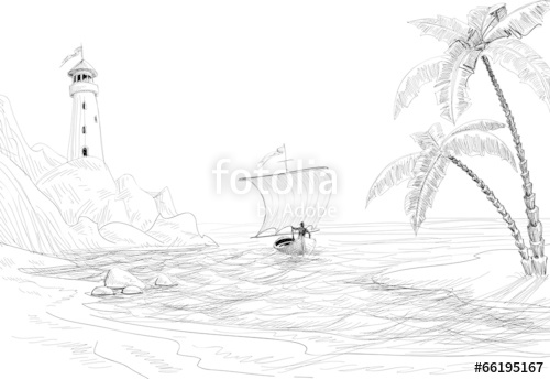 500x344 Seascape Sketch, Lighthouse, Boat Palm Trees Stock Image
