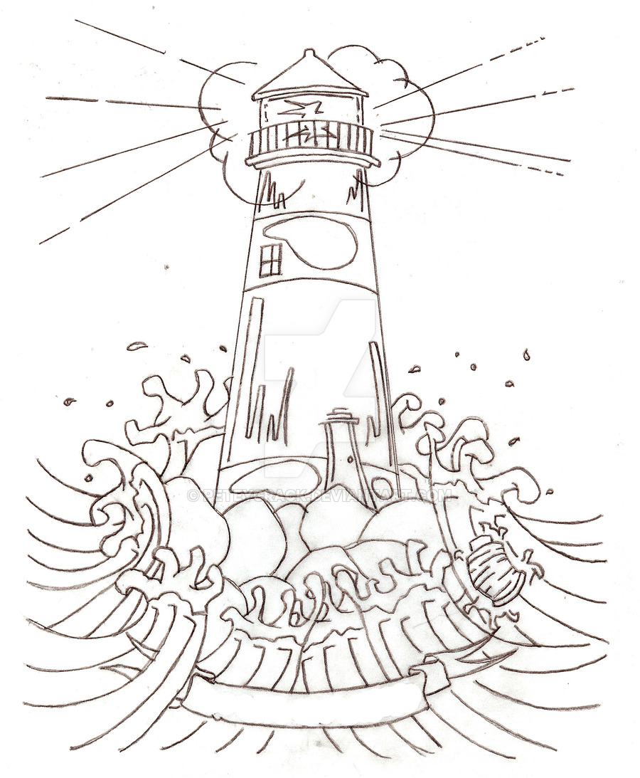 900x1093 Lighthouse Tattoo By Peteycrack