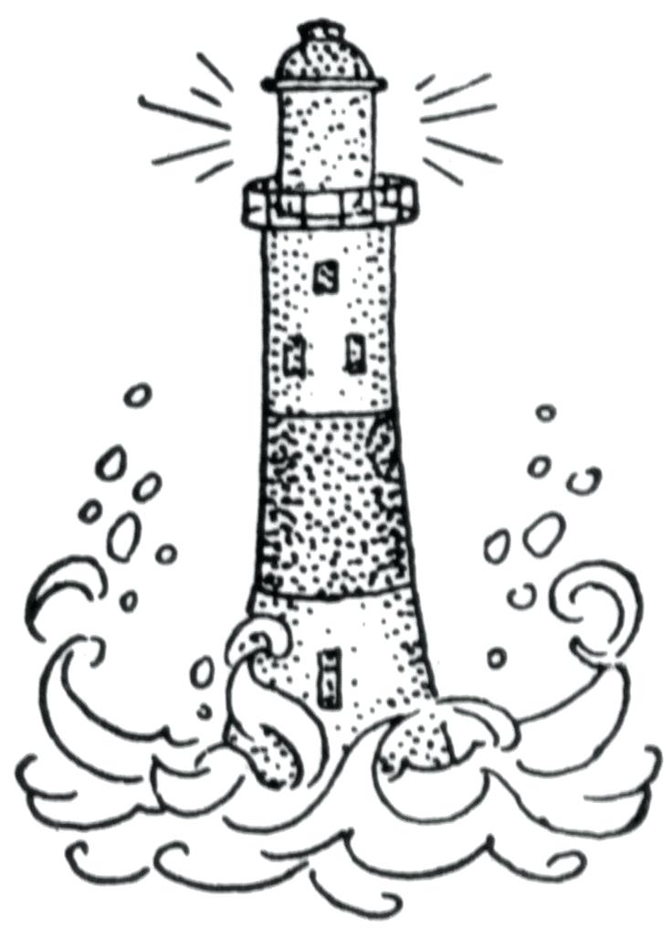 736x1017 Lighthouse Clipart Details And Shading This Postcard Perfect Scene
