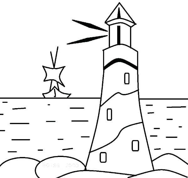 600x568 Lighthouse Coloring Pages Also Lighthouse Giving Sign To A Boat