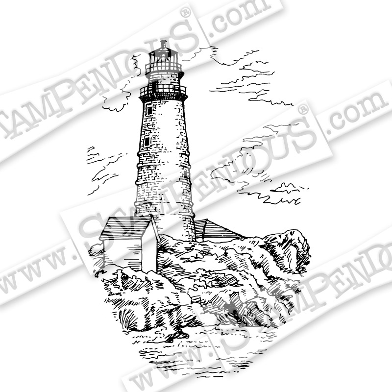 800x800 Boston Lighthouse Rubber Stamp