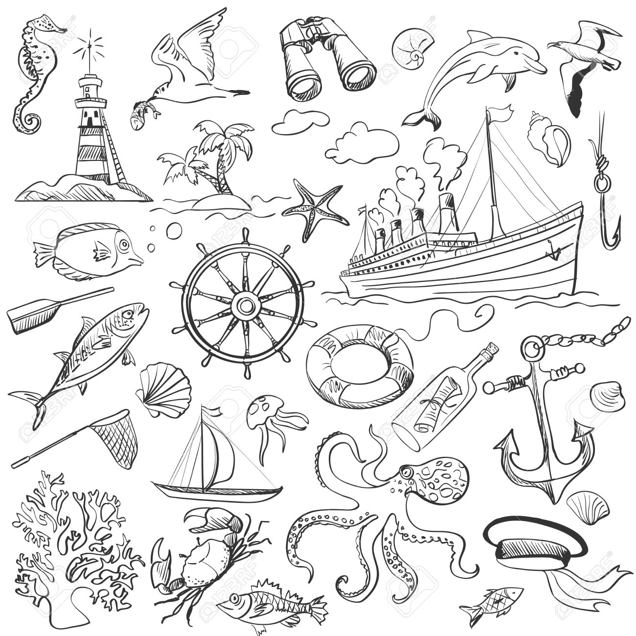 1300x1300 Hand Drawn Elements Of Marine Theme With A Lighthouse, Ships