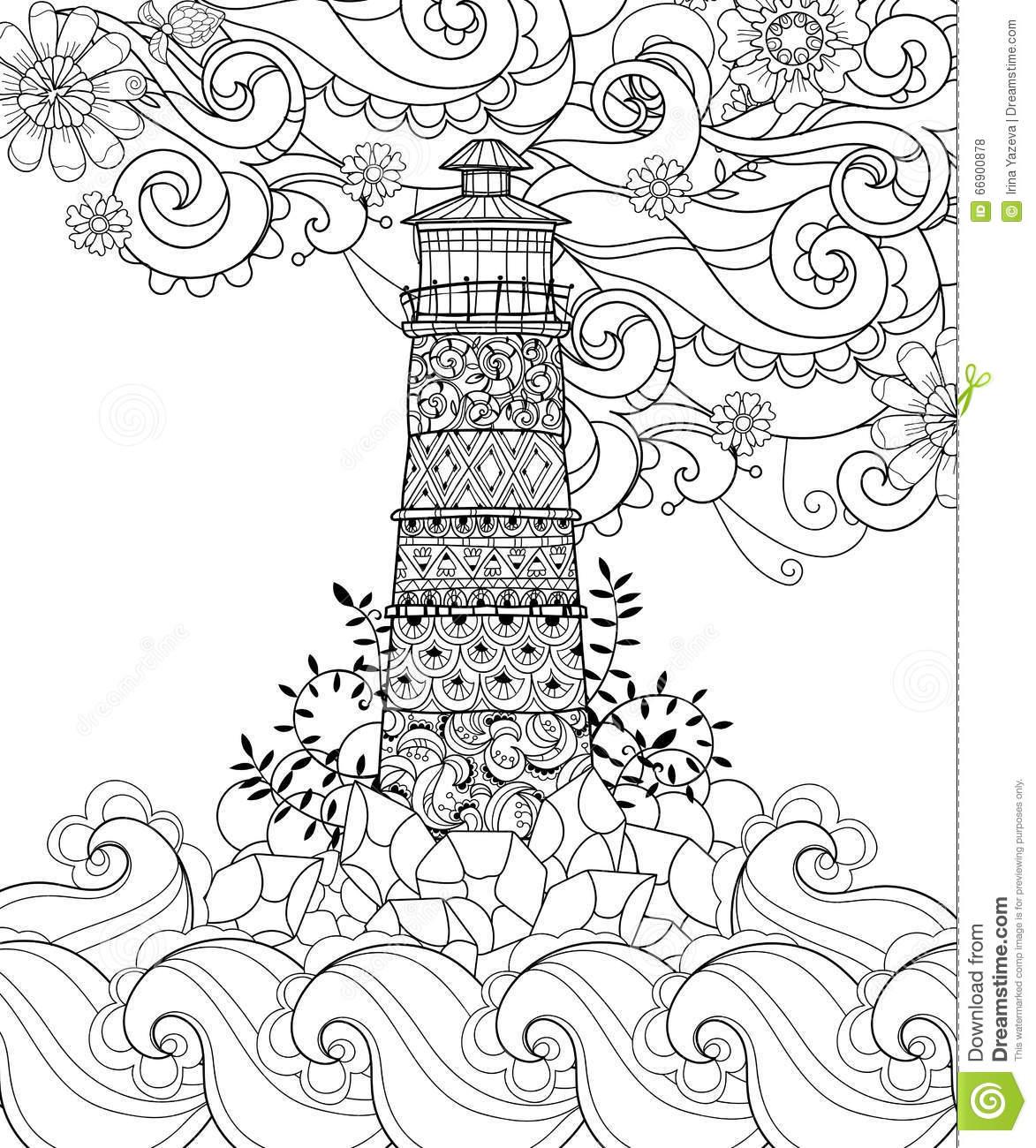 1173x1300 Drawn Lighthouse Doodle