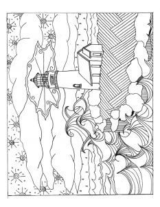 233x300 Hand Drawn Artistically Ethnic Ornamental Patterned Lighthouse