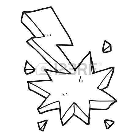 450x450 Freehand Drawn Black And White Cartoon Lighting Strike Symbol
