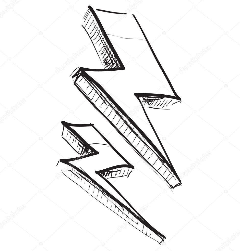 980x1024 Lightning Bolt Vector Illustration Stock Vector Chuhail