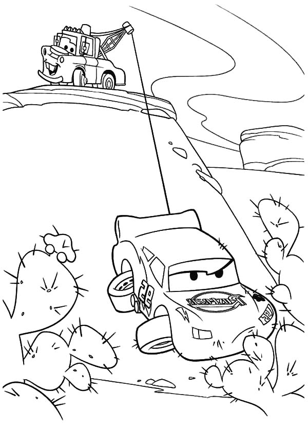 600x840 Tow Mater Helping Lighting Mcqueen Coloring Pages Color Luna