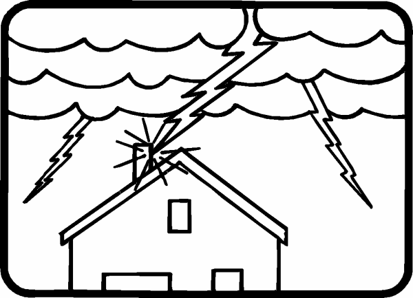 600x433 Photo Lightning Strike House Earth Day Coloring Pages Album