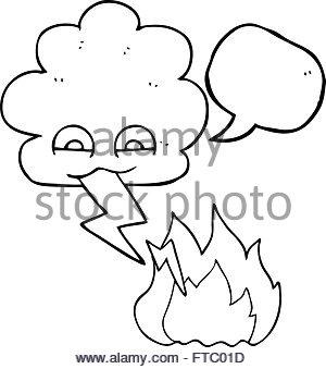 300x339 Freehand Drawn Cartoon Thundercloud Lightning Strike Stock Vector
