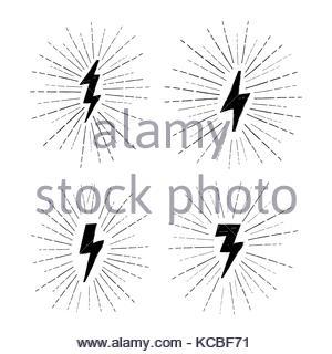 300x320 Lightning Bolt Set. Grunge Strike Icon. Power Sign. Thunderbolt