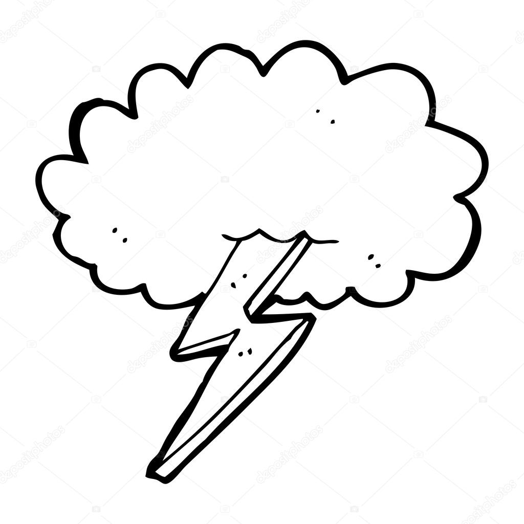 1024x1024 Cartoon Lightning Bolt And Cloud Stock Vector Lineartestpilot