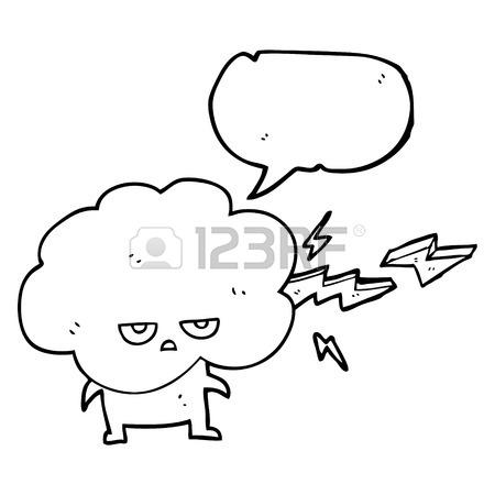 450x450 Freehand Drawn Speech Bubble Cartoon Raincloud Character Shooting