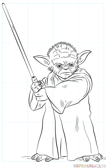 364x575 How To Draw Yoda With Lightsaber Step By Step Drawing Tutorials