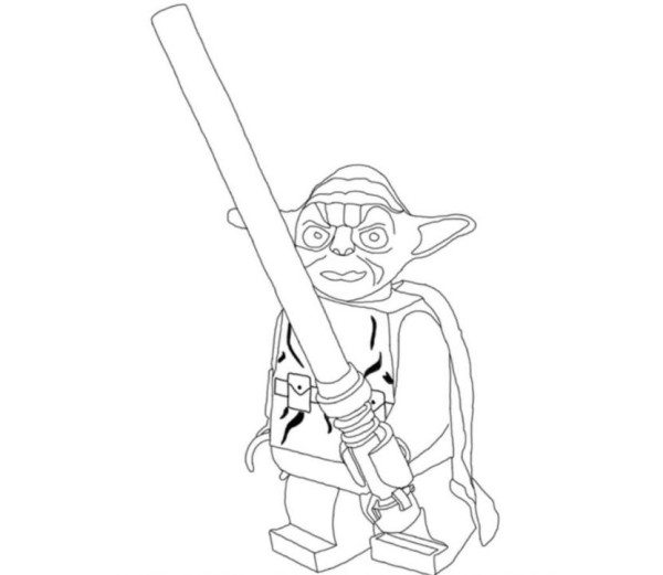 600x521 Lightsaber Coloring Pages Lego Star Wars Yoda Holding Lightsabers
