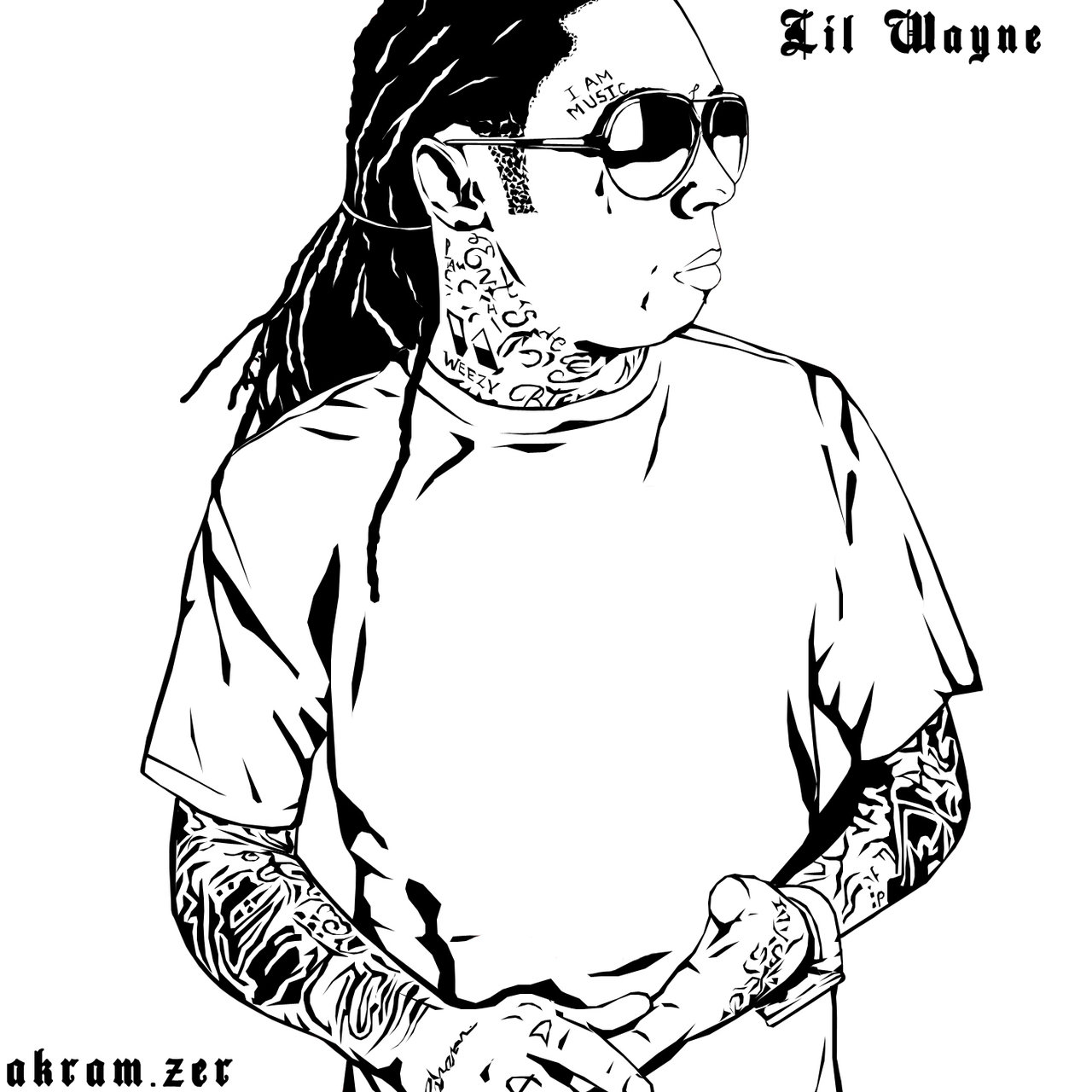 1280x1280 Lil Wayne (Just White And Black) By Akramzer