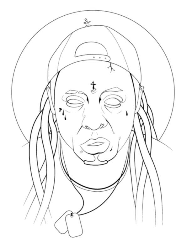 612x792 Lil Wayne Face Illustration