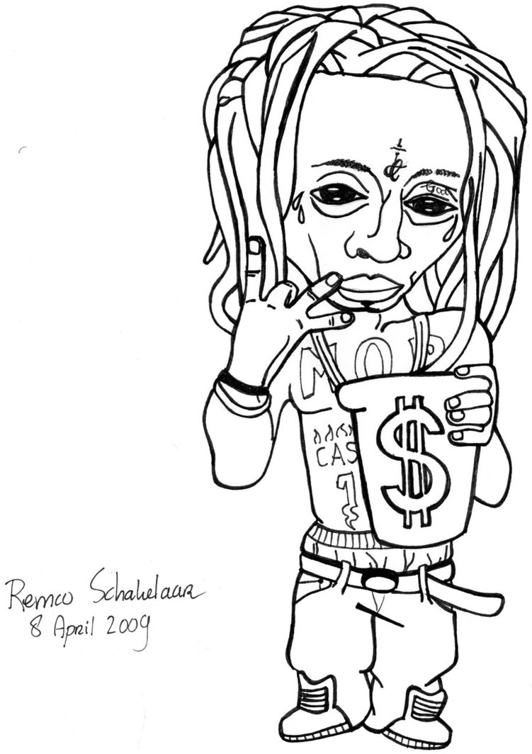 lil pump coloring pages | Lil Wayne Drawing at GetDrawings.com | Free for personal ...