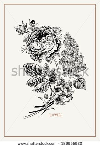 318x470 Card With Vintage Black And White Floral Bouquet Of Victorian