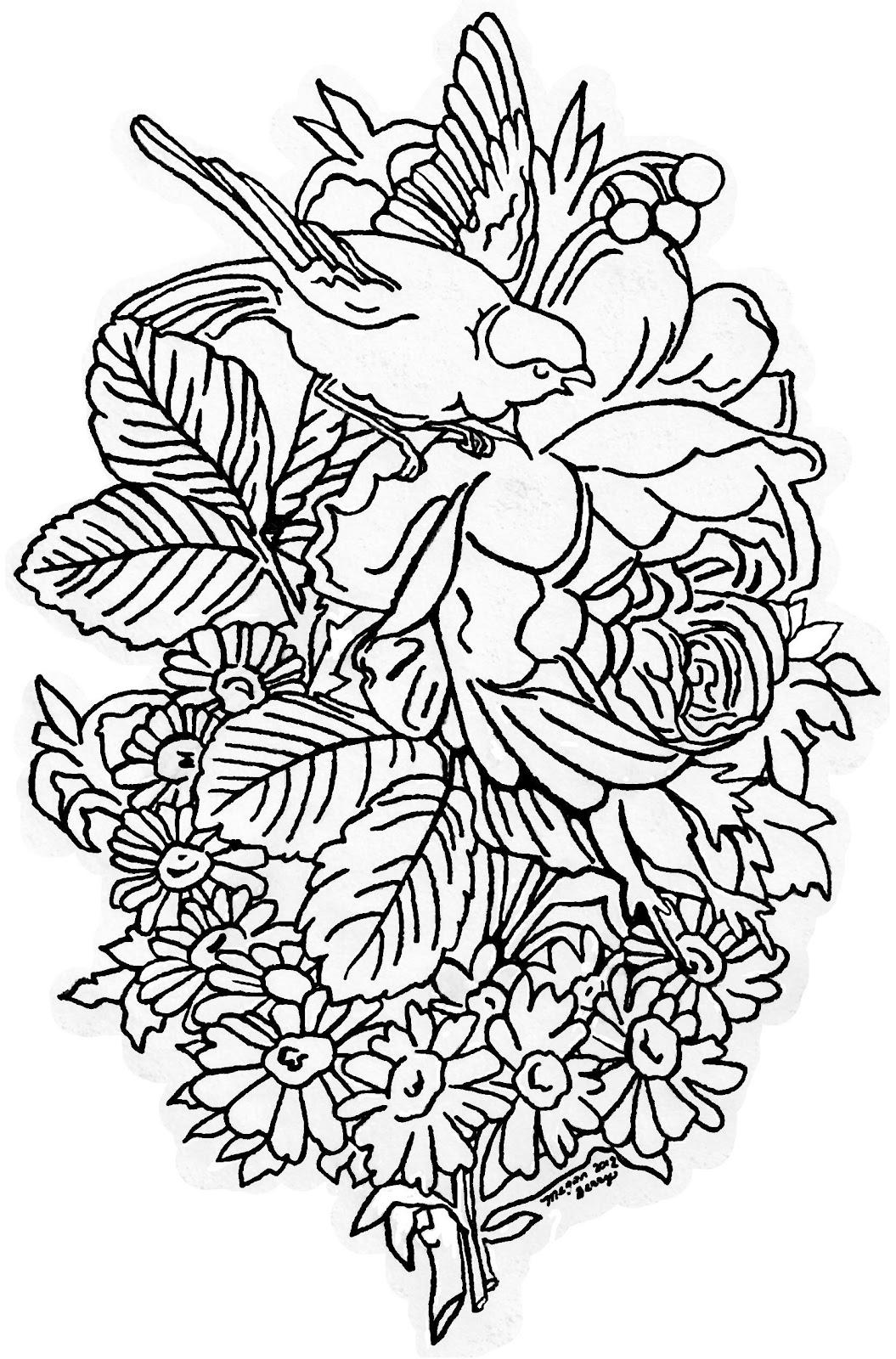 1055x1600 Lilac Amp Lavender Vintage Bird Amp Flowers ~ Clip Art