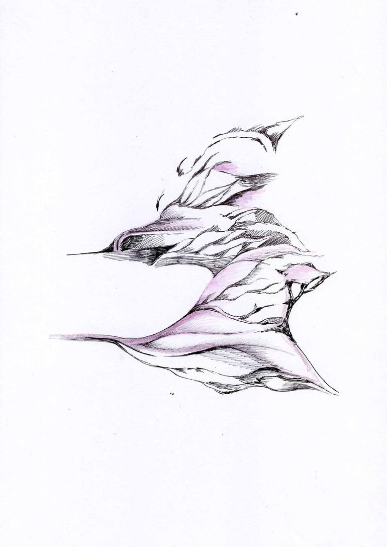 770x1088 Saatchi Art Lilac Abstract Strong Version Drawing By Marina