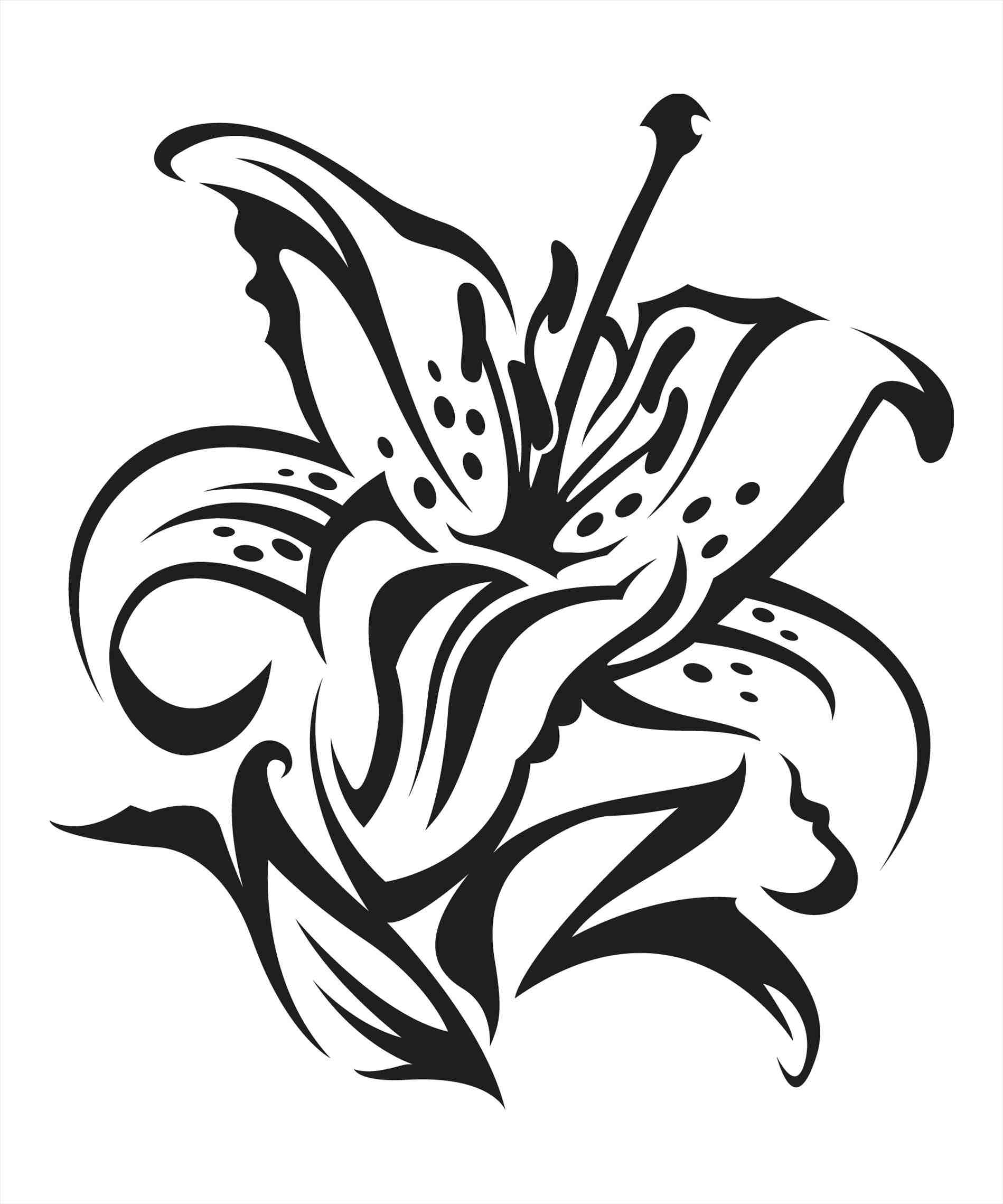 1899x2279 Lily Flower Drawing Outline Black Silhouette Vector Easter Clipart