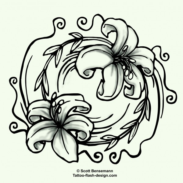 600x600 Lily Flower Tattoo Design Yin Yang Style