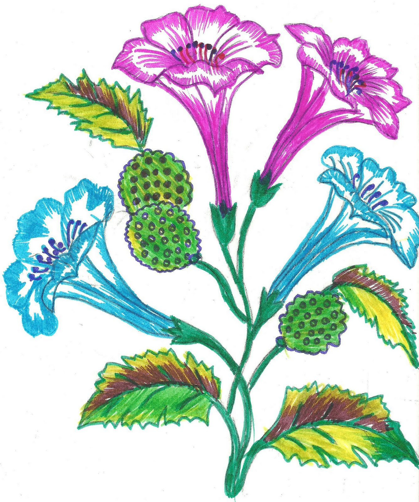 1336x1600 Pattern Flower Drawing Colour [ Flower Drawings