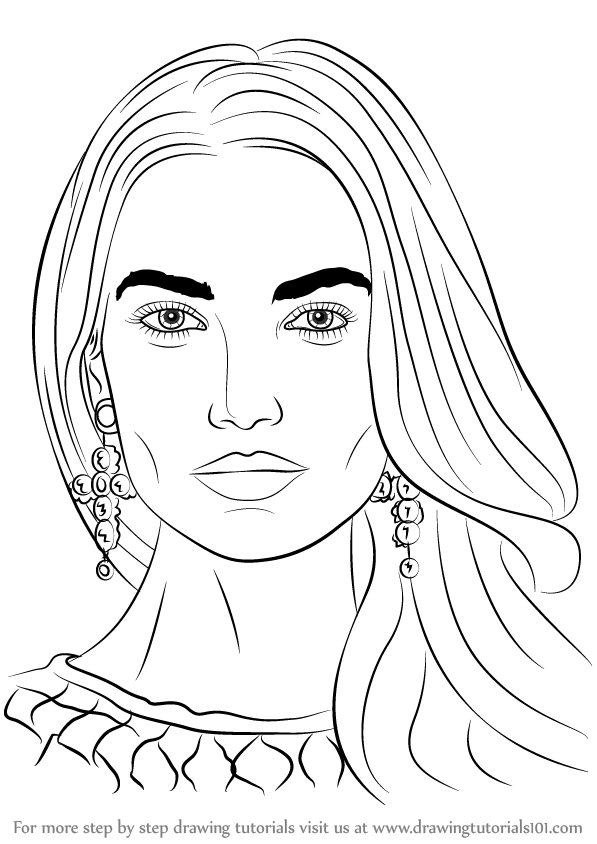597x844 Learn How To Draw Lily Aldridge (Female Models) Step By Step