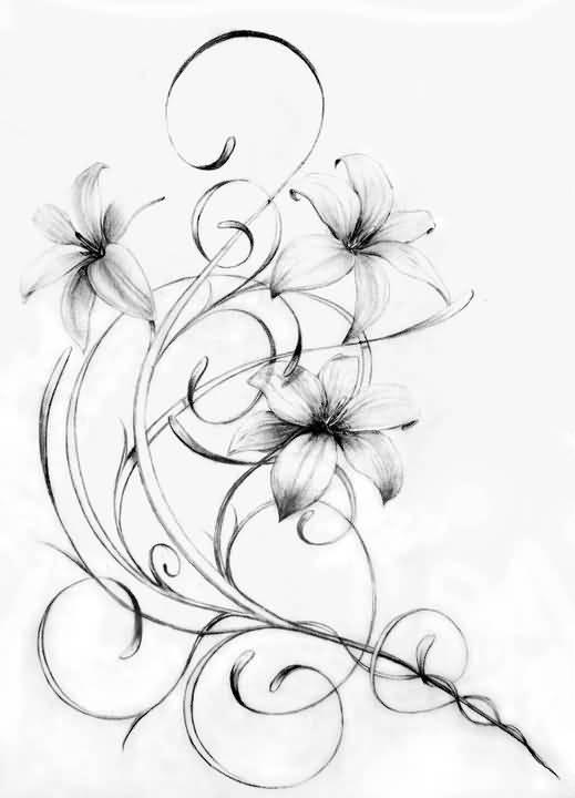 519x720 Traditional Lily Tattoo Idea