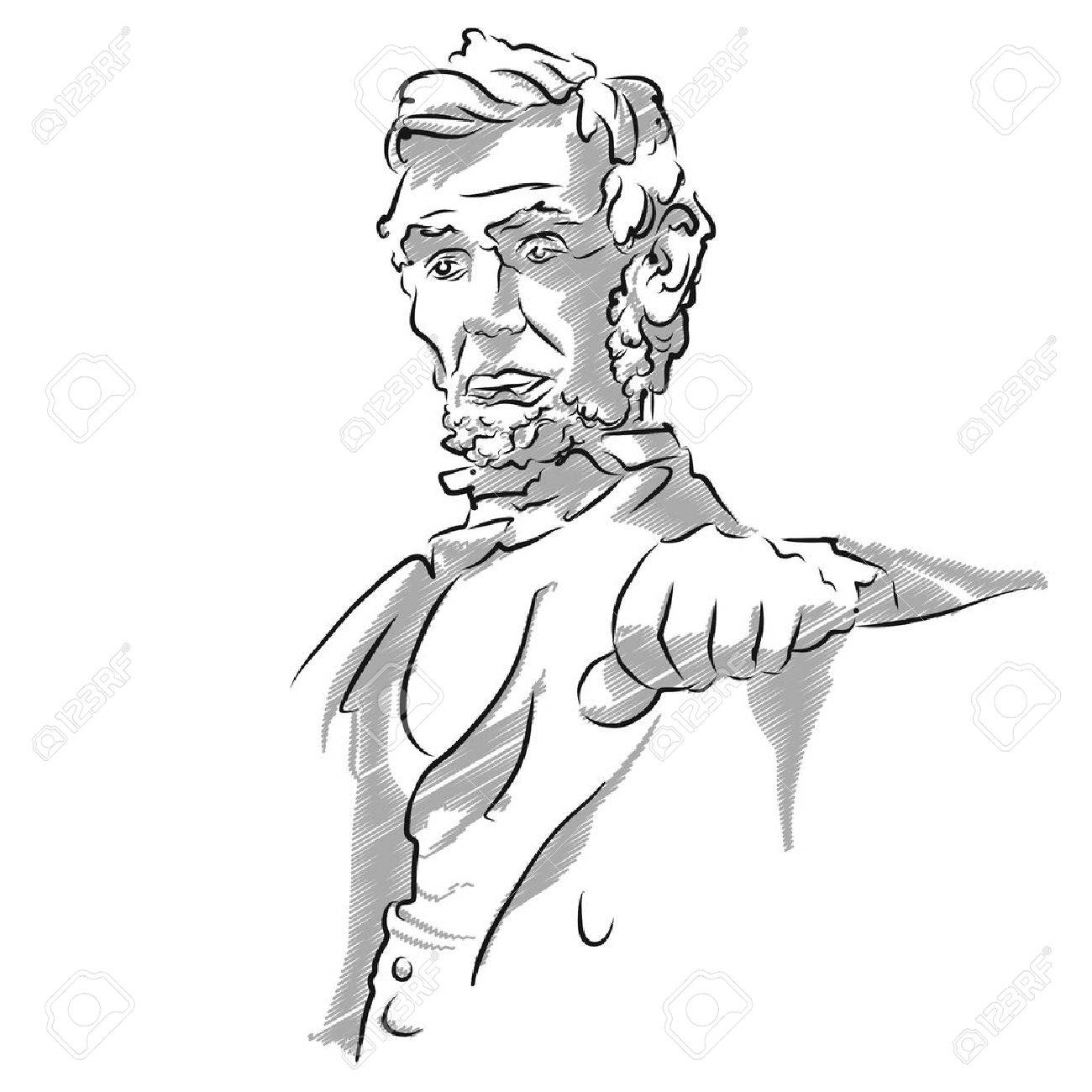 1300x1300 Abraham Lincoln Memorial Sketch, Vector Outline Version Royalty