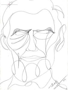 227x300 Abstract Portrait Drawing, Abraham Lincoln