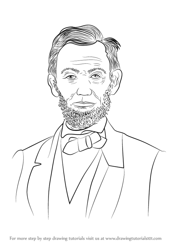 566x800 Learn How To Draw Abraham Lincoln (Politicians) Step By Step