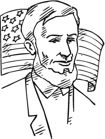 362x480 Lincoln In Front Of American Flag Coloring Page Free Printable