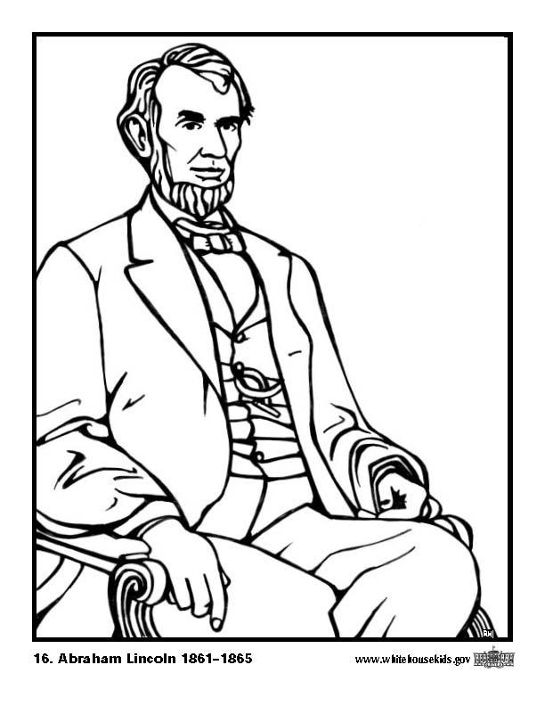 612x792 Coloring Page 16 Abraham Lincoln