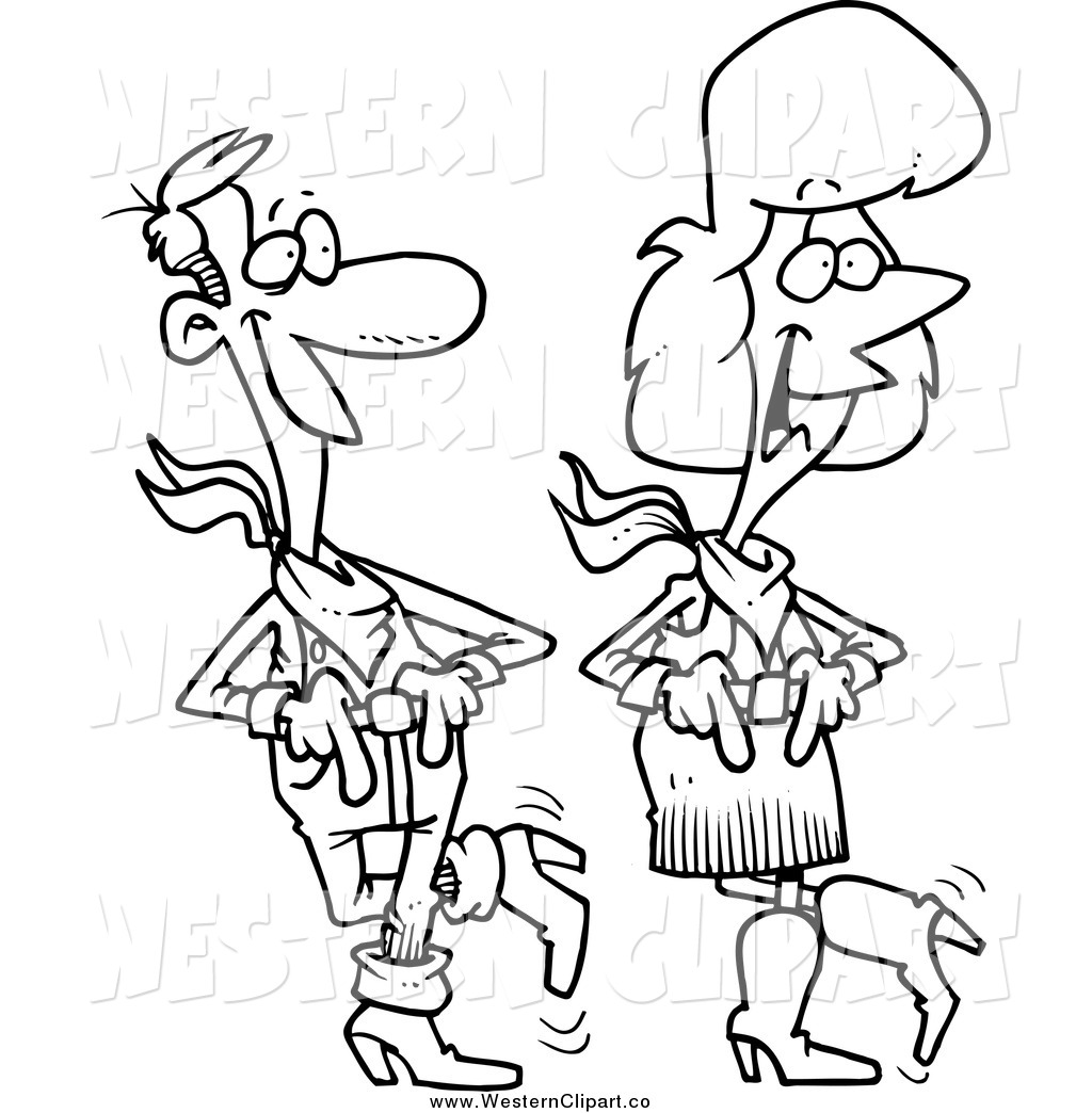 1024x1044 Vector Clip Art Of A Black And White Country Couple Line Dancing