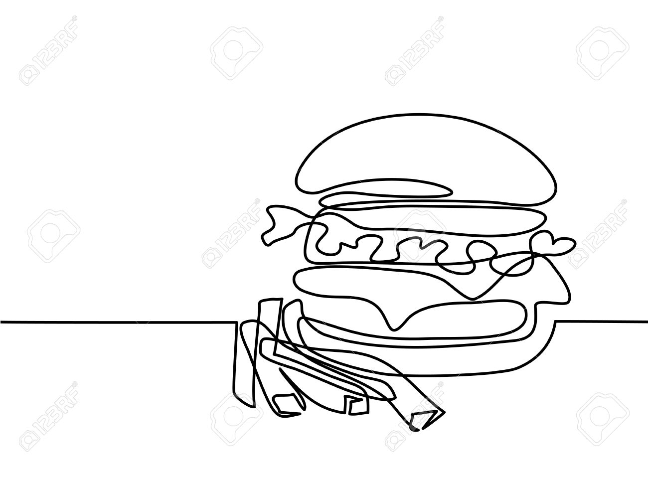 1300x975 Continuous Line Drawing. Big Hamburger With French Fries Fast