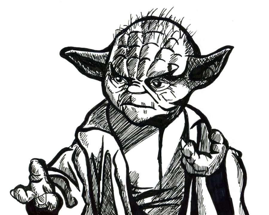900x717 Yoda Line Drawing By Hanfaw888