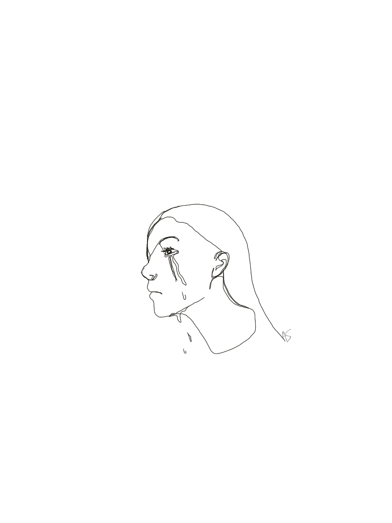 768x1024 A Single Line Drawing Of A Weeping Girl (The Tears Are Separate
