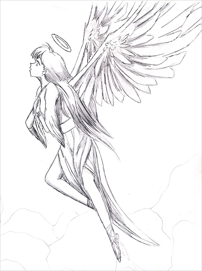 Line Art Angel : Line drawing angel at getdrawings free for personal