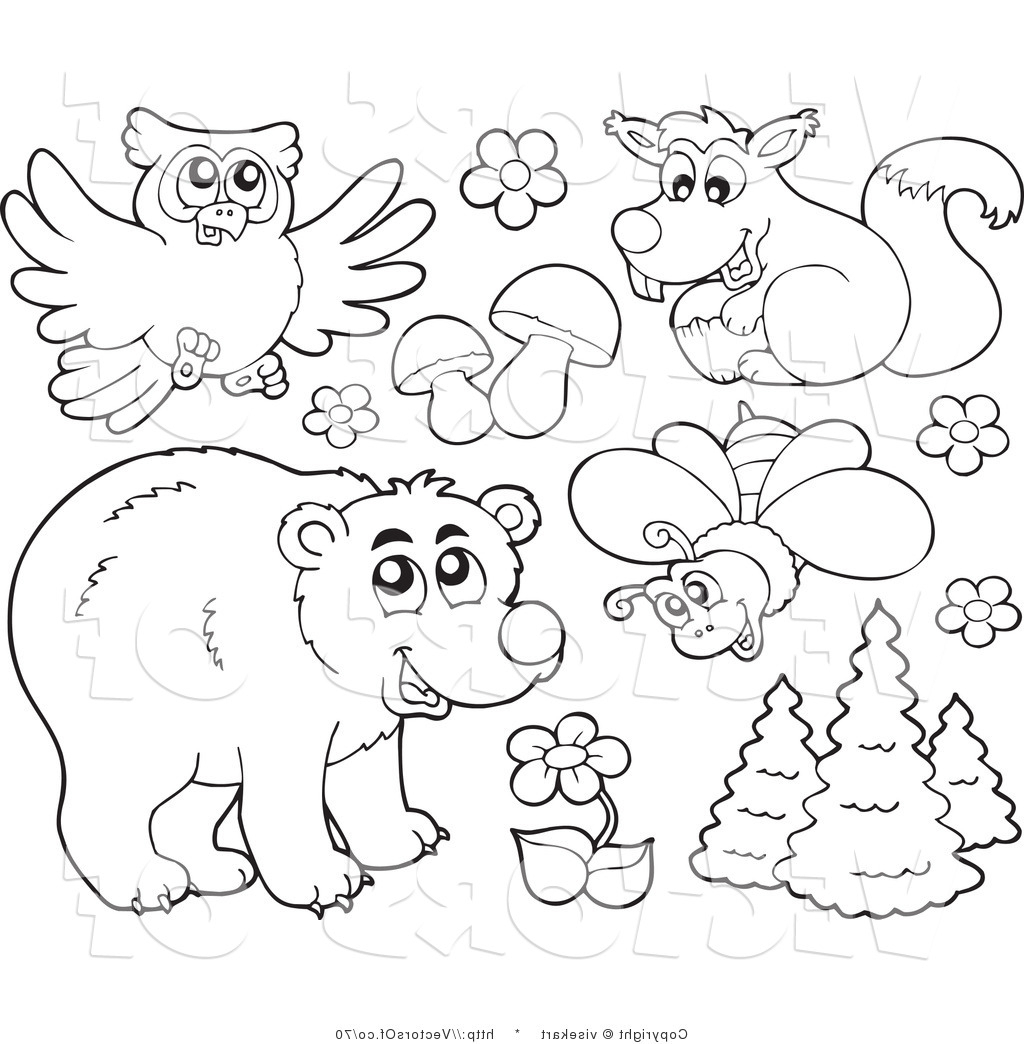 1024x1044 Forest Animals Drawing Arts