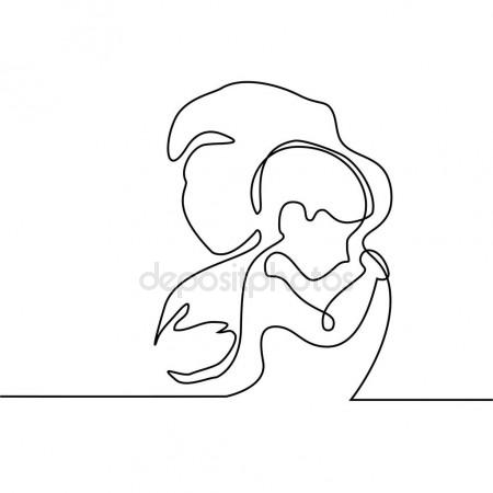 450x450 Set Silhouette Sketch Mother And Child, Mother Holding A Baby