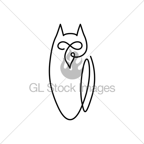 500x500 Vector Continuous Line Drawing Bird Owl. Owl Logo Design Gl